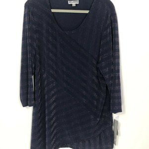 JM Collection NWT Women's Tunic XXL Blue with Meta